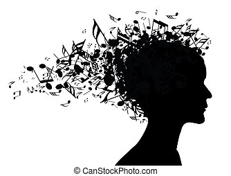 stående, kvinna, silhuett, musik