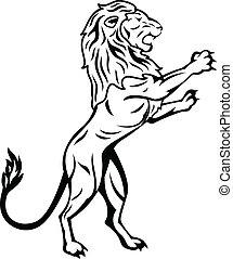 stående, lejon