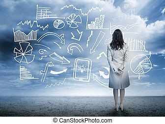 stående, produktionsdiagram, se, data, affärskvinna