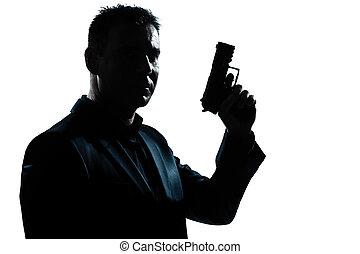 stående, silhuett, gevär, man