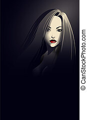 stående, stil, kvinna, noir, ung