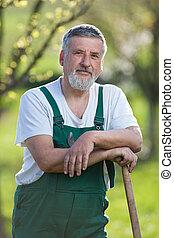 stående, trädgård, trädgårdsmästare