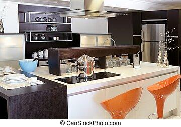 stål, brun, rostfri, nymodig, ved, kök