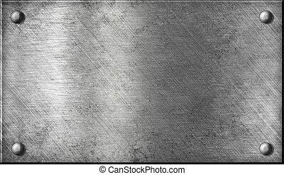 stål, tallrik, aluminium, aluminium, metall, eller, nitar