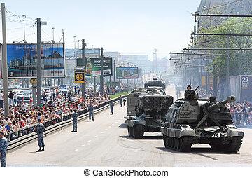 ståta, folk, ser, russia., -, fordon, krig, vapen, 9, maj, moskva, tog, moskva, 9:, 160, ivrig, cistern, 2010, del, seger, fosterländsk, militär, heder, väg