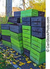 stack, rutor, packkorgar