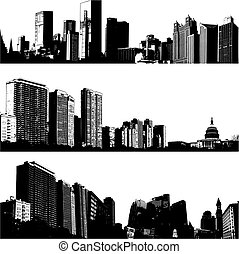 stad, 3, vektor, skylines