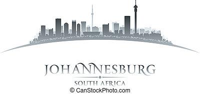 stad, afrika, johannesburg, illustration, silhouette., horisont, vektor, syd