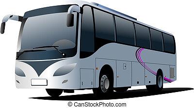 stad, coach., vektor, bus., illustration
