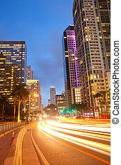 stad, finansiell, florida, område, miami, i centrum, brickell, genom, trafik, gripande