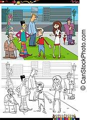 stad, grupp, färglag beställ, tecknad film, folk, sida