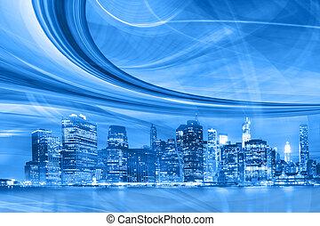 stad, hastighet, trails., rörelse, abstrakt, i centrum, blåa lätta, urban, nymodig, illustration, motorväg, gå