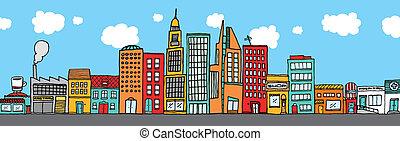 stad horisont, färgrik