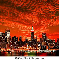 stad horisont, york, färsk, midtown
