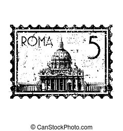 stad, isolerat, illustration, singel, vektor, vatikanen, ikon