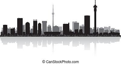stad, johannesburg, vektor, silhuett, horisont