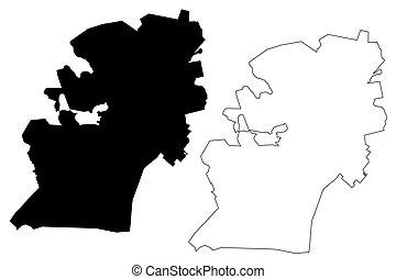 stad, klottra, afrika, (republic, eller, pietermaritzburg, umgungundlovu, kwazulu-natal, province), karta, skiss, syd, illustration, rsa, maritzburg, vektor