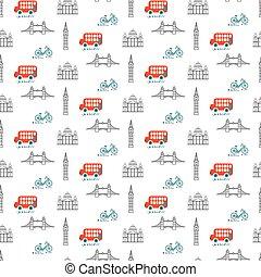 stad, pattern., seamless, tema, vektor, london, unge