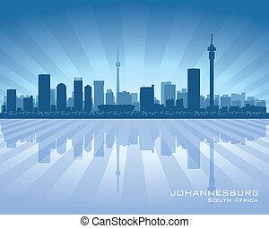 stad, silhuett, afrika, johannesburg, horisont, syd