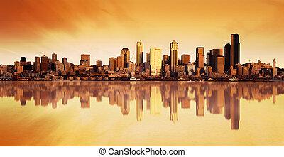 stad, soluppgång, synhåll