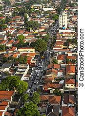 stad, streets., sao, marmelad, houses., rush, hour., paulo, gata, trafik, under, väg, grannskap