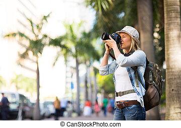 stad, tagande, turist, foto