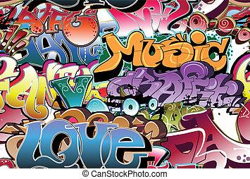 stads- graffiti, seamless, bakgrund
