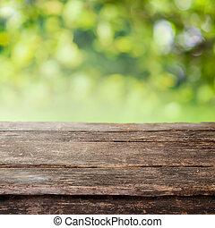 staket, trä, land, topp, eller, rustik, bord, planka