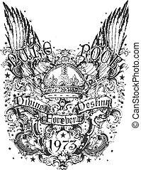 stam, krona, vinge, illustration