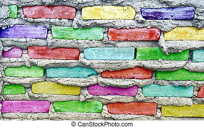 sten, färgrik, vägg, kvarter