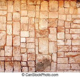 sten, forntida, kvarter, mexico, vägg, uxmal
