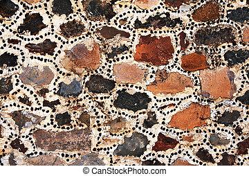 sten, mexico, vägg, kvarter, forntida, teotihuacan