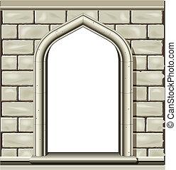 sten, välvt fönster