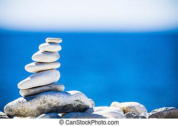 stenar, kiselstenar, över, blå, balans, sjögång stapla, croatia.