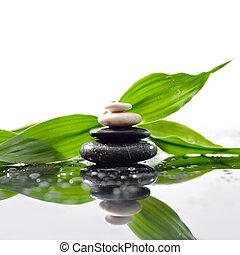 stenar, pyramid, bladen, zen, yta, grön, över, waterdrops