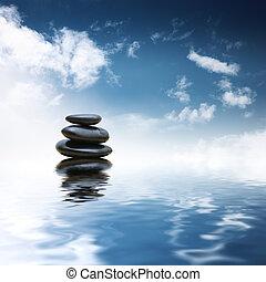 stenar, vatten, över, zen