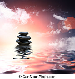 stenar, vatten, kattöga, zen, bakgrund