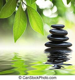 stenar, vatten, pyramid, zen, yta