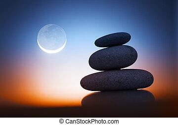 stenar, zen, natt