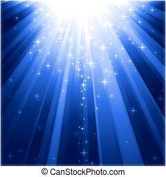 stiga ned, lätt, magi, stjärnor, vevstake