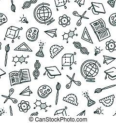 stil, baksida, mönster, klotter, vektor, illustration, seamless, topic., skola