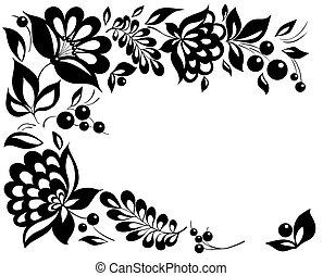 stil, black-and-white, leaves., element, design, retro, blommig, blomningen
