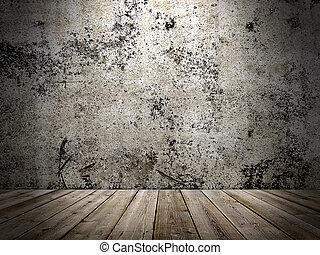 stil, grunge, golv, vägg, konkret, trä