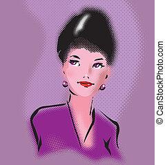 stil, kvinna, konst, pop, elegant, retro, stående