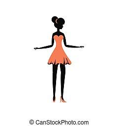 stil, kvinna, silhuett, retro