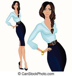 stil, kvinna, tillfällig affärsverksamhet, attraktiv