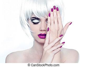 stil, mode, polska, nails., skönhet, kvinna, smink, manikyrera, kort, hair., stående, vit