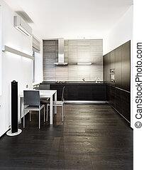 stil, nymodig, minimalism, tonen, inre, monokrom, kök