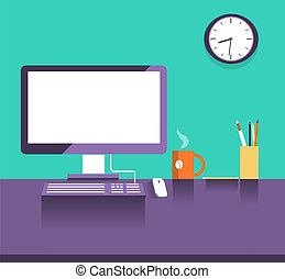 stil, place., kontor, design, lägenhet, inre