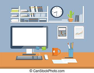 stil, room., kontor, design, lägenhet, inre